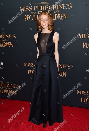 """Actress Lauren McCrostie attends """"Miss Peregrine's Home for Peculiar Children"""" red carpet event at Saks 5th Avenue, in New York"""