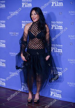 Stock Image of Hazel Morillo arrives at 2014 Santa Barbara International Film Festival - American Riviera Award ceremony on Friday, Feb, 7, 2014 in Santa Barbara, Calif