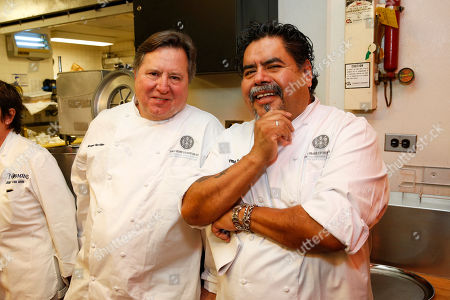 Chef Norman Van Aken and Guillermo Tellez seen at the 2014 James Beard Foundation Gala: Celebrating Charlie Trotter and the New American Cuisine at the Four Seasons Restaurant, on in New York