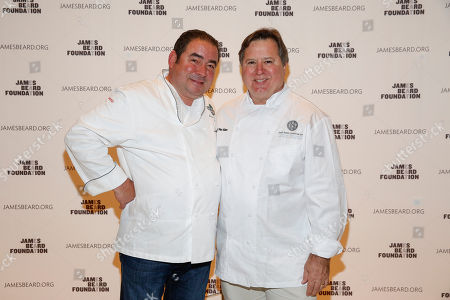 IMAGE DISTRIBUTED FOR JAMES BEARD FOUNDATION - Chef Emeril Lagasse and Norman Van Aken seen at the 2014 James Beard Foundation Gala: Celebrating Charlie Trotter and the New American Cuisine at the Four Seasons Restaurant, on in New York