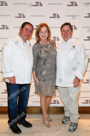 Stock Picture of Chef Norman Van Aken, JBF President Susan Ungaro, and Chef Emeril Lagasse seen at the 2014 James Beard Foundation Gala: Celebrating Charlie Trotter and the New American Cuisine at the Four Seasons Restaurant, on in New York