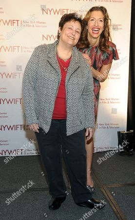Orange Is the New Black actors Alysia Reiner, right, and Barbara Rosenblat attend the 34th annual Muse Awards presented by New York Women in Film & Television (NYWIFT), in New York. The Muse Awards recognize the outstanding vision and achievement of women in film, television and digital media industries