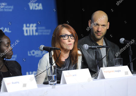"""Kuoth Wiel and from left, Margaret Nagle and Corey Stoll attend the press conference for """"The Good Lie"""" on day 5 of the Toronto International Film Festival at the TIFF Bell Lightbox, in Toronto"""