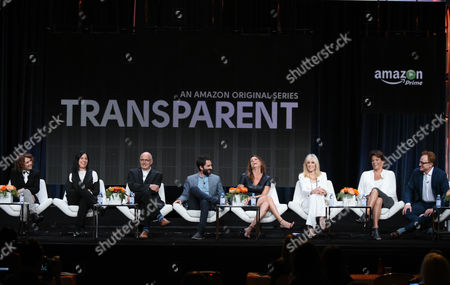 "Director/writer/producer Jill Soloway, from left, producer Andrea Sperling, Jeffrey Tambor, Jay Duplass, Amy Landecker, Judith Light, Alexandra Billings and Bradley Whitford participate in the ""Transparent"" panel at the Amazon Summer TCA Tour at the Beverly Hilton Hotel, in Beverly Hills, Calif"