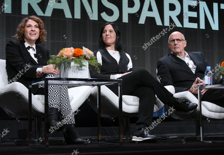 "Director/writer/producer Jill Soloway, from left, producer Andrea Sperling and Jeffrey Tambor participate in the ""Transparent"" panel at the Amazon Summer TCA Tour at the Beverly Hilton Hotel, in Beverly Hills, Calif"