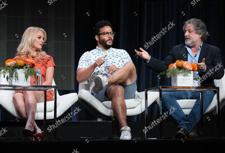 "Gage Golightly, from left, Ennis Esmer and writer/producer Gregory Jacobs participate in the ""Red Oaks"" panel at the Amazon Summer TCA Tour at the Beverly Hilton Hotel, in Beverly Hills, Calif"