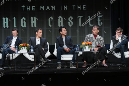 "Rupert Evans, from left, Rufus Sewell, Joel de la Fuente, Cary-Hiroyuki Tagawa and DJ Qualls participate in ""The Man in the High Castle"" panel at the Amazon Summer TCA Tour at the Beverly Hilton Hotel, in Beverly Hills, Calif"