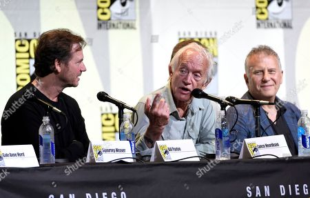 "Bill Paxton, from left, Lance Henriksen, and Paul Reiser attend the ""Aliens: 30th Anniversary"" panel on day 3 of Comic-Con International, in San Diego"