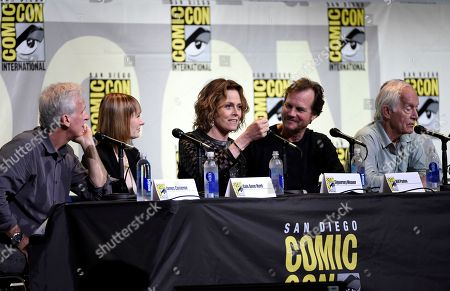 "Writer and director James Cameron, from left, producer Gale Anne Hurd, and actors Sigourney Weaver, Bill Paxton, and Lance Henriksen attend the ""Aliens: 30th Anniversary"" panel on day 3 of Comic-Con International, in San Diego"
