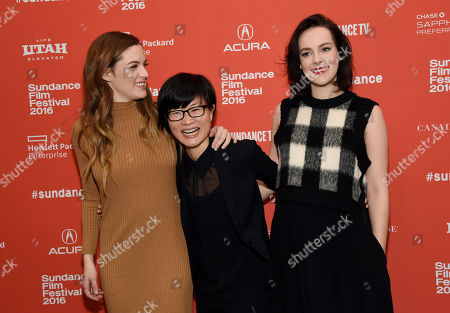 """So Yong Kim, center, director of """"Lovesong,"""" poses with cast members Riley Keough, left, and Jena Malone at the premiere of the film at the 2016 Sundance Film Festival, in Park City, Utah"""