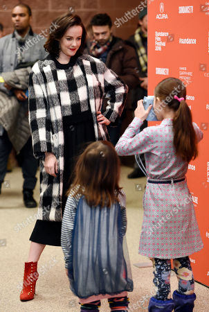 """Jena Malone, left, a cast member in """"Lovesong,"""" poses for a portrait for sisters Jessie, left, and Sky Ok Gray, daughters of the film's director So Yong Kim, at the premiere of the film at the 2016 Sundance Film Festival, in Park City, Utah"""