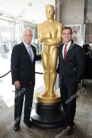 Stock Image of Makeup Artist Branch Governor Leonard Engelman, left, and Los Angeles Mayor Eric Garcetti pose at the 87th Academy Awards - Make Up And Hairstyling Reception at the Samuel Goldwyn Theater, in Los Angeles