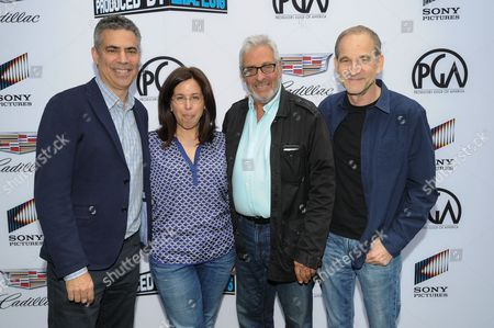 Stock Image of Michael London, from left, Amy Baer, Hawk Koch and Marshall Herskovitz attend the 8th Annual Produced By Conference presented by Producers Guild of America held at Sony Picture Studios, in Culver City, Calif