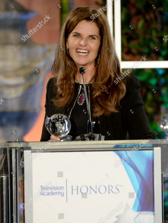 """Maria Shriver accepts a Television Academy Honors award for """"Paycheck to Paycheck: The Life and Times of Katrina Gilbert"""" at the 8th annual Television Academy Honors at the Montage hotel, in Beverly Hills, Calif"""