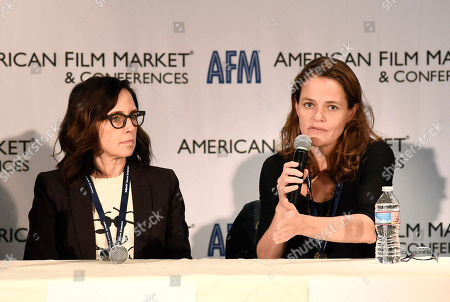 Stock Image of Director/Producer Lesley Chilcott and Producer Alexandra Johnes speak at the American Film Market Roundtable - Distributing and Monetizing Feature Documentaries at the Loews Santa Monica Beach Hotel, in Santa Monica, Calif
