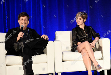 Paul Hertzberg, President & CEO of CineTel Films, Inc., and Tannaz Anisi, President of 13 Films, speak at the American Film Market Production Conference: Producing for the Pre-Sales Marketplace at the Fairmont Hotel, in Santa Monica, Calif