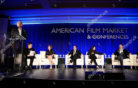 Jonathan Wolf, Executive Vice President & Managing Director of the American Film Market, Paul Hertzberg, President & CEO of CineTel Films, Inc., Tannaz Anisi, President of 13 Films, Paul Bales, Partner & COO of The Asylum, Tamara Birkemoe, President & COO of Foresight Unlimited, and Eric Brenner, President of ETA Films, speak at the American Film Market Production Conference: Producing for the Pre-Sales Marketplace at the Fairmont Hotel, in Santa Monica, Calif