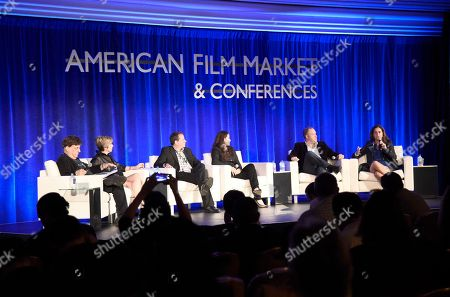 Paul Hertzberg, President & CEO of CineTel Films, Inc., Tannaz Anisi, President of 13 Films, Paul Bales, Partner & COO of The Asylum, Tamara Birkemoe, President & COO of Foresight Unlimited, Eric Brenner, President of ETA Films, and Caroline Couret-Delegue, Managing Director of Truffle Pictures, speak at the American Film Market Production Conference: Producing for the Pre-Sales Marketplace at the Fairmont Hotel, in Santa Monica, Calif