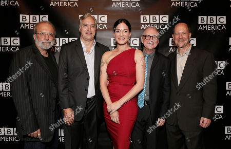 Tom Fontana, BBC America America President Herb Scannell, Franka Potente, Barry Levinson and BBC America General Manager Perry Simon attend the BBC America TCA Party at Cafe La Boheme on in Los Angeles, California