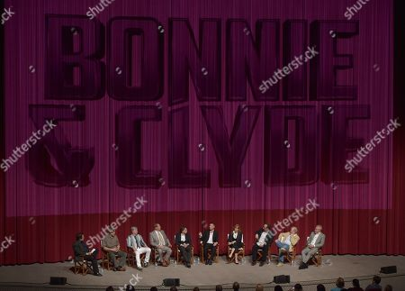 """Moderator Tom O'Neil and from left, Joe Batteer, John Rice, Bruce Beresford, Emile Hirsch, Lane Garrison, Marilyn Vance, Derek R. Hill, Francis Kenny and John Debney participate in a panel following the """"Bonnie & Clyde"""" For Your Consideration screener event at the Leonard H. Goldenson Theatre, in Los Angeles"""
