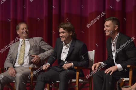 """Bruce Beresford and from left, Emile Hirsch and Lane Garrison participate in a panel following the """"Bonnie & Clyde"""" FYC screener event at the Leonard H. Goldenson Theatre, in Los Angeles"""