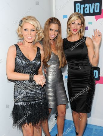 """The Real Housewives of Orange County"""" cast members, from left, Gretchen Rossi, Lydia McLaughlin and Alexis Bellino attend the Bravo Network 2013 Upfront on in New York"""