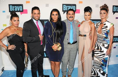 """Shahs of Sunset"""" cast members, from left, Mercedes """"MJ"""" Javid, Mike Shouhed, Asa Soltan Rahmati, Reza Farahan, Lilly Ghalichi and Golnesa """"GG"""" Gharachedaghi attend the Bravo Network 2013 Upfront on in New York"""