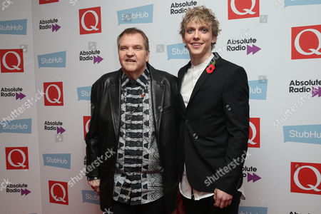 Meat Loaf and Andrew Polec pose for photographers upon arrival for the Q Music Awards, at the Camden Roundhouse in London