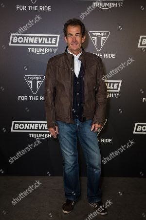 Stock Picture of Steve Parrish poses for photographers upon arrival at the Triumph Motorcycles VIP launch party, in London
