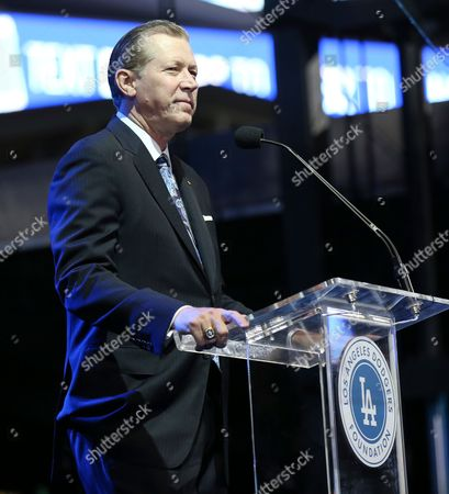 Orel Hershiser speaks at the Los Angeles Dodgers Foundation Blue Diamond Gala at Dodgers Stadium, in Los Angeles