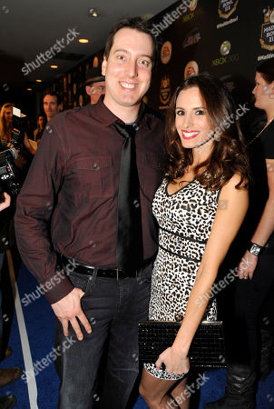 Kyle Busch, left, and Samantha Sarcinella arrive at the EA SPORTS Madden Bowl XIX Party on in New Orleans