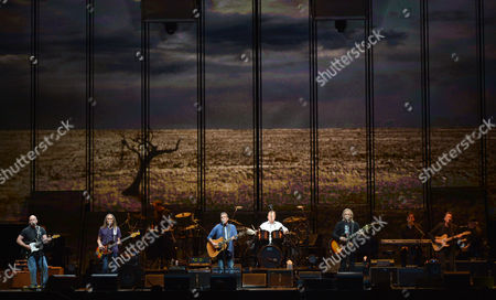 "Stock Photo of From left, Bernie Leadon, Timothy B. Schmit, Glenn Frey, Don Henley, and Joe Walsh of The Eagles perform on the ""History of the Eagles"" tour at the Forum, on in Los Angeles"