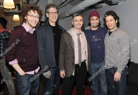 """IMAGE DISTRIBUTED FOR PIVOT - From left, musician Arthur Lewis, CEO of Participant Media, Jim Berk, President of Pivot Evan Shapiro, performer Lin-Manuel Miranda and """"Freestyle Love Supreme"""" creator Thomas Kail pose together before Pivot's live taping of """"Freestyle Love Supreme"""" at Joe's Pub on in New York. The show will air Saturday, March 8th, 2014 at 10pm ET on Pivot"""