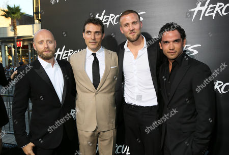 """Stock Image of From left, actors Aksel Hennie, Rufus Sewell, Tobias Santelmann and Reece Ritchie arrive for the premiere of """"Hercules"""" held at the TCL Chinese Theatre, in Los Angeles, Calif"""