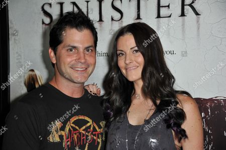 "Adam Green, left, and Rileah Vanderbilt attend the LA screening of ""Sinister"" at Landmarks Theatres Regent, in Los Angeles"