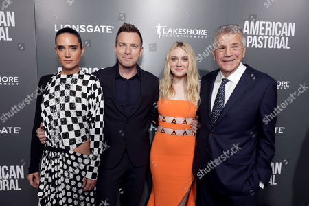 "Jennifer Connelly, Director/Actor Ewan McGregor, Dakota Fanning and Writer John Romano seen at Lionsgate Los Angeles Special Screening of ""American Pastoral"" at Samuel Goldwyn Theater, in Beverly Hills, CA"