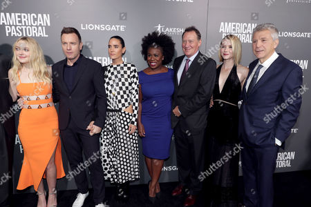 "Dakota Fanning, Director/Actor Ewan McGregor, Jennifer Connelly, Uzo Aduba, Producer Gary Lucchesi, Valorie Curry and Writer John Romano seen at Lionsgate Los Angeles Special Screening of ""American Pastoral"" at Samuel Goldwyn Theater, in Beverly Hills, CA"
