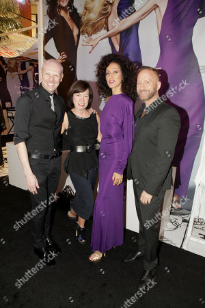 From left, Seth Dolan, Director Events West Coast MAC Cosmetics, Debra Gunn Downing, Executive Director of Marketing for South Coast Plaza, Supermodel Pat Cleveland and Gregory Arlt, Director of Makeup Artistry for MAC Cosmetics pose during the MAC Cosmetics media event at South Coast Plaza, in Costa Mesa, Calif