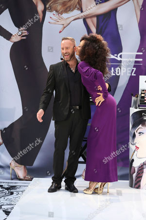 From left, Gregory Arlt, Director of Makeup Artistry for MAC Cosmetics and Supermodel Pat Cleveland present during the MAC Cosmetics media event at South Coast Plaza, in Costa Mesa, Calif