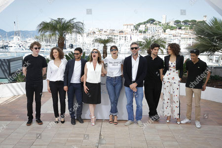 Norman Thavaud, Amanda Added, Abdel Addala, Emmanuelle Bercot, director Maiwenn, Vincent Cassel, Louis Garrel, Chrystele Saint Louis Augustin and Nabil Kechouhen pose for photographers at the photo call for the film Mon Roi, at the 68th international film festival, Cannes, southern France