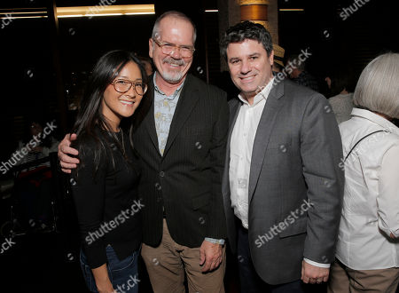 Netflix VP of Original Documentary Programming Lisa Nishimura, IDA Executive Director Michael Lumpkin and Netflix's Director Original Documentary and Comedy Adam Del Deo attend the Netflix Screening of E-Team Presented by the IDA at Landmark Theater on in Los Angeles
