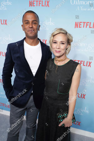 """Yanic Truesdale and Liza Weil seen at Netflix's """"Gilmore Girls: A Year in the Life"""" Premiere, in Los Angeles, CA"""