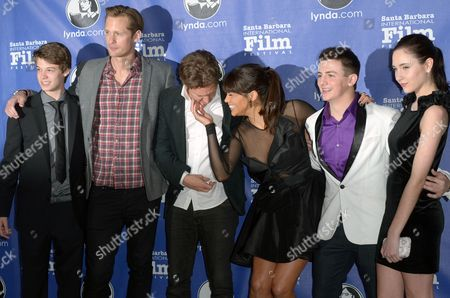 "Stock Picture of From left, Colin Ford, Alexander Skarsgard, Henry Alex Rubin, Paula Patton, Aviad Bernstein, and Haley Ramm arrive at the opening night of the 2013 Santa Barbara International Film Festival, featuring the film ""Disconnect"" on Thursday Jan.24, 2013, in Santa Barbara, Calif"