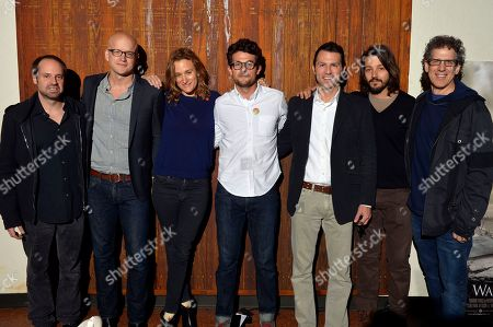 From left, Jeff Skoll, Logan Hill, Margaret Brown, Jacob Soboroff, Jonathan King, Diego Luna and Jim Berk pose for a photo before the start of a Storytelling for Change: A Decade of Impact panel during Participant Media's Engage, Inspire and Ignite: Conversations about Unleashing Social Good at SXSW in Austin, Texas