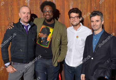 """From left, Michael Davies, president of Embassy Row and producer of Bravo's Watch What Happens,"""" W. Kamau Bell, comedian, Jacob Soboroff from TakePart Live and Evan Shapiro, president of Pivot, pose for a photo in the TV Pivots Back To The Future: Why Live TV Matters Now More Than Ever panel during Participant Media's Engage, Inspire and Ignite: Conversations about Unleashing Social Good at SXSW in Austin, Texas"""