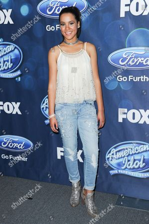 """Tristan Mcintosh attends the red carpet arrivals and Debut of the """"American Idol XV"""" Finalists, in West Hollywood, Calif"""