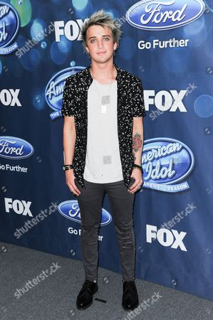 """Dalton Rapattoni attends the red carpet arrivals and Debut of the """"American Idol XV"""" Finalists, in West Hollywood, Calif"""