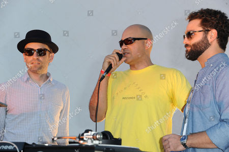 """Chris """"Peanut Butter Wolf"""" Manaks, from left, Garth Trinidad, and Jeff Broadway attend Street Food Cinema featuring Our Vinyl Weighs A Ton: This Is Stone's Throw Records at Exposition Park on in Los Angeles"""