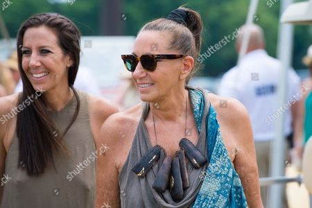 """Gabby Karan de Felice, left, and Donna Karan attend the Ovarian Cancer Research Fund Alliance's (OCRFA) 19th annual """"Super Saturday"""" garage sale benefit at Nova's Ark Project in Water Mill, in New York"""
