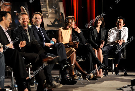 "FEBRUARY 5: (L-R) Actor David Morrissey, moderator and host of ""Talking Dead"" Chris Hardwick, actors Andrew Lincoln, Danai Gurira, Norman Reedus, Lauren Cohan and Steven Yeun participate in the Academy of Television Arts & Sciences Presents ""An Evening With The Walking Dead"" at the Leonard H. Goldenson Theatre at the Academy of Television Arts & Sciences on in North Hollywood, California"